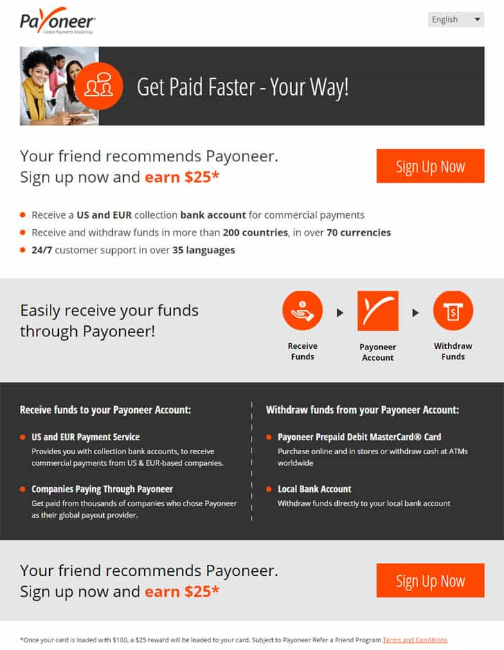 Payoneer Prepaid Debit Card Referral Bonus
